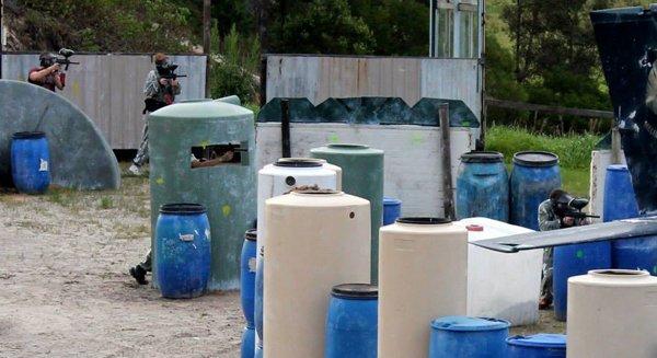 barrels on paintball field