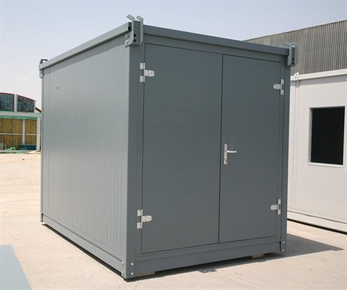 Grey insulated flat pack container 10' long