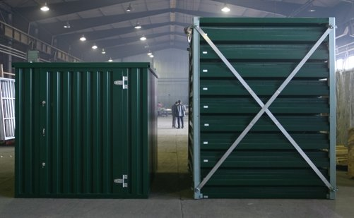 (Left) an erected storage container    (Right) 10 storage containers flatpacked