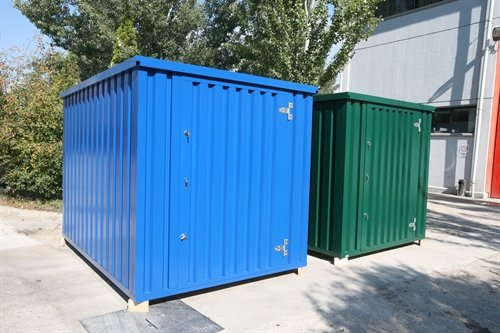 Heavy duty flatpack storage containers with double lock doors.
