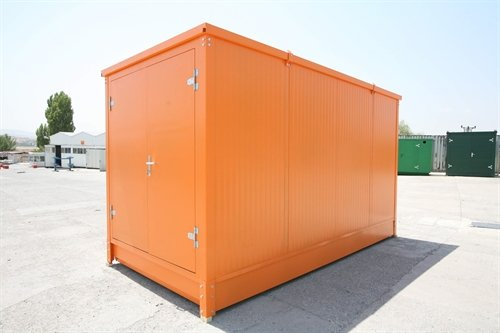 Orange insulated flatpack container 16' long