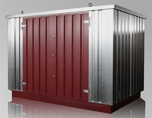 Flatpack hazardous goods container with sump