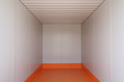 Inside of 16' insulated flatpack container