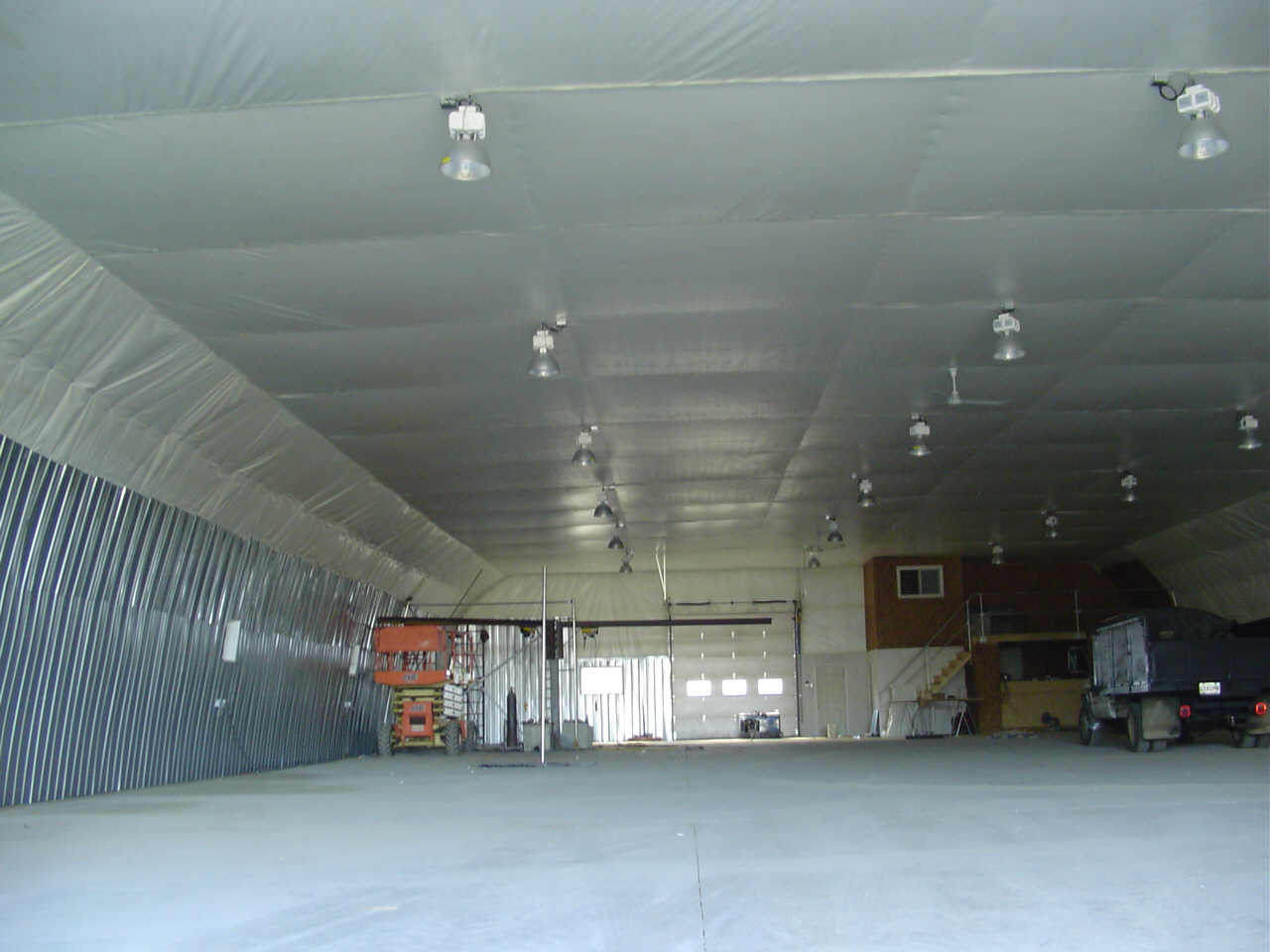 Picture of the inside of our 72' x 160' Gothic style welding shop