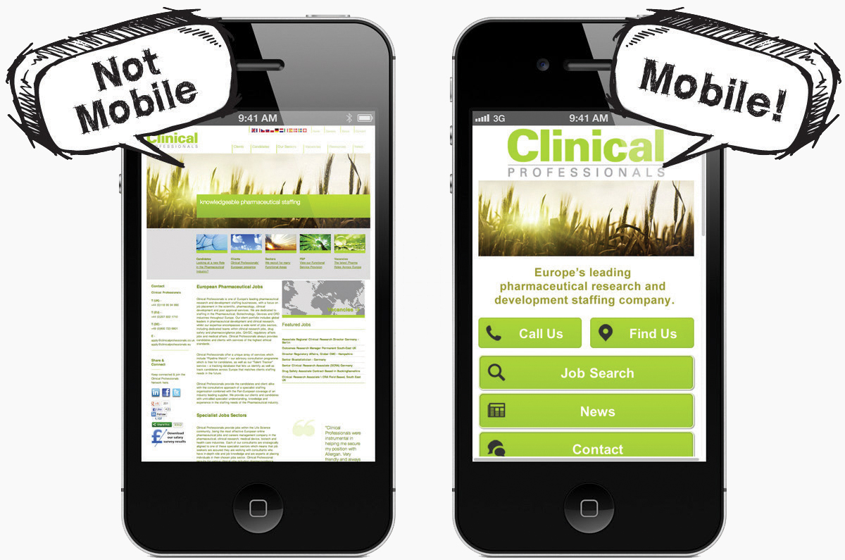 a mobile-friendly website and a hard to read mobile website