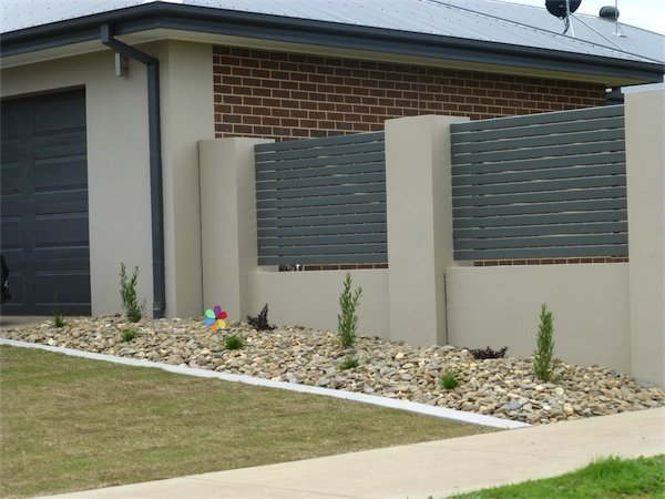 concrete and plank fence