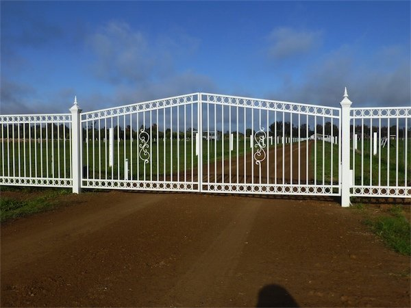 white iron fence