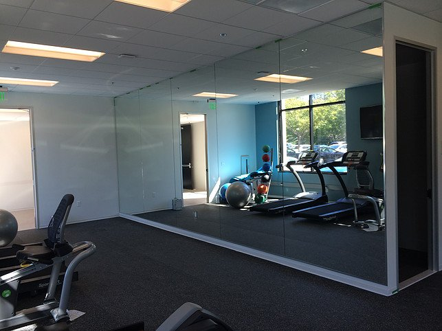 Image of large mirror in gym