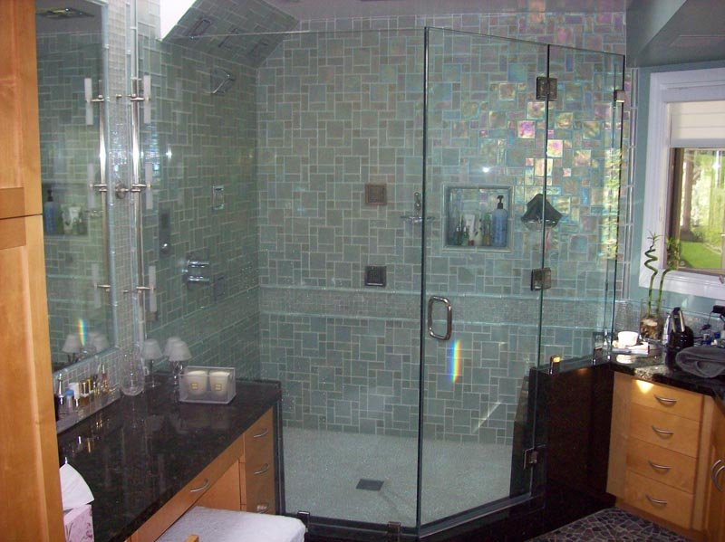Image of Glass shower enclosure during bathroom remodel