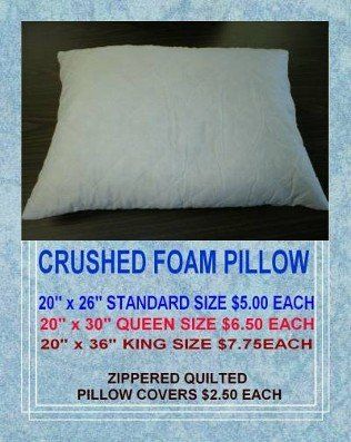 crushed foam pillow