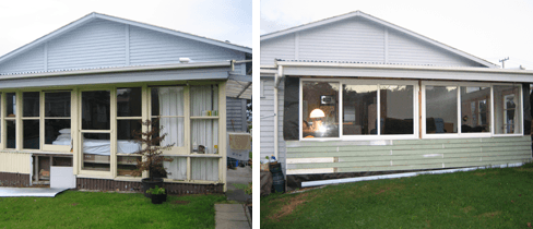 Before and after new aluminium windows