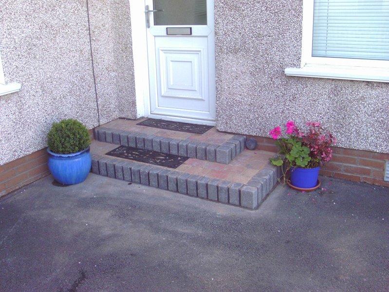 brick driveway steps
